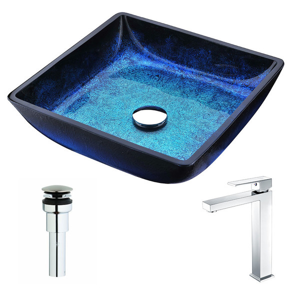 ANZZI Viace Series Blazing Blue Deco-Glass Vessel Sink with Enti Chrome Faucet - Blazing Blue Finish