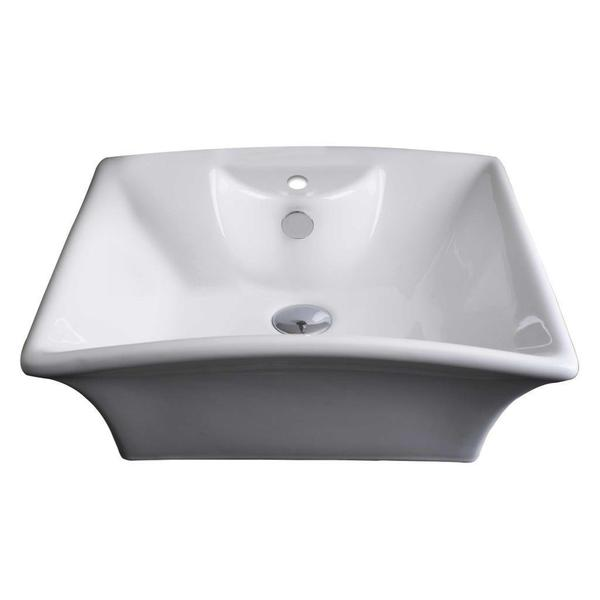 20-in. W x 17-in. D Above Counter Rectangle Vessel In White Color For Single Hole Faucet - White
