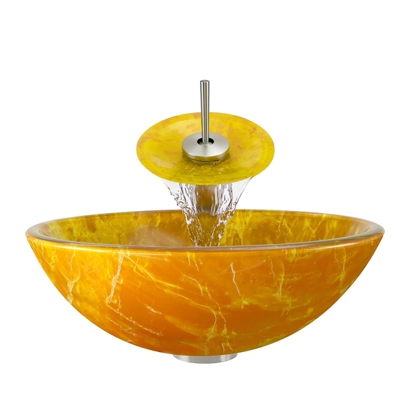 Polaris Sinks Goldtone and Yellow/ Brushed Nickel 4-piece Bathroom Ensemble - double layer glass orange and yellow