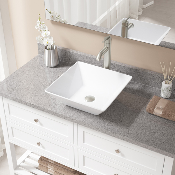 MR Direct White Porcelain Sink with Brushed Nickel Faucet and Pop-up Drain