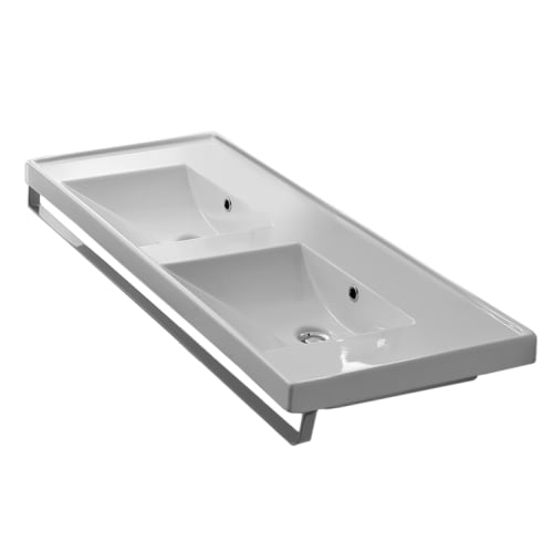 Nameeks 3006-TB Scarabeo 48' Ceramic Double Basin Bathroom Sink for Wall Mounted or Drop In Installation - Includes Overflow and