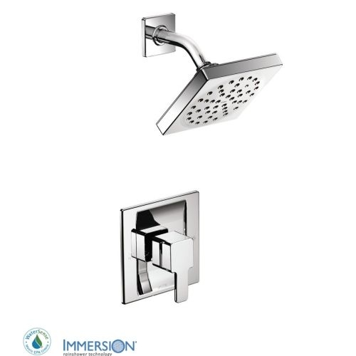 Moen TS2712EP Single Handle Posi-Temp Pressure Balanced Shower Trim with Rain Shower Head from the 90 Degree Collection (Less