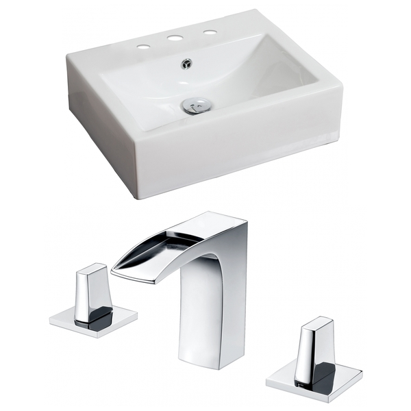 20-in. W x 18-in. D Rectangle Vessel Set In White Color With 8-in. o.c. CUPC Faucet - White