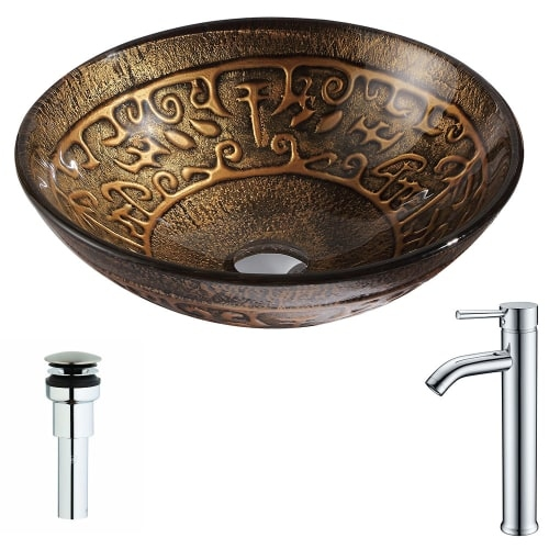 Anzzi LSAZ079-041 Alto Brass and Glass Deck Mounted or Vessel Bathroom Sink with
