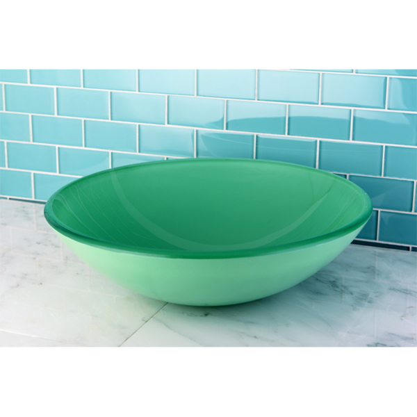 Green Tempered Glass Bathroom Vessel Sink - Green