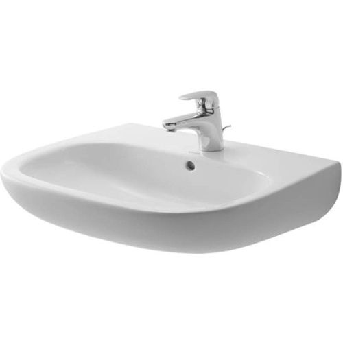 Duravit 2310600000 D-Code 23-5/8' Ceramic Bathroom Sink for Wall Mounted or Pedestal Installations with Single Faucet Hole and
