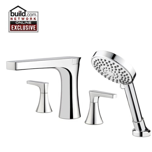 Pfister RT64MF Kelen Deck Mounted Roman Tub Faucet Trim with Metal Lever Handles - Includes Personal Hand Shower - Nickel Finish
