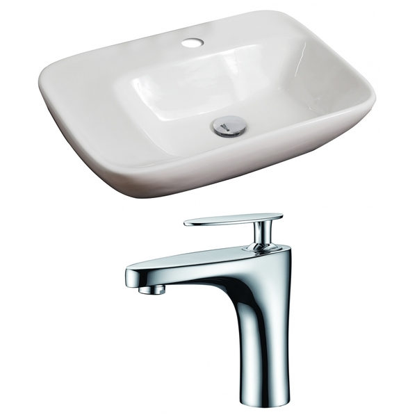 23-in. W x 17-in. D Rectangle Vessel Set In White Color With Single Hole CUPC Faucet - White