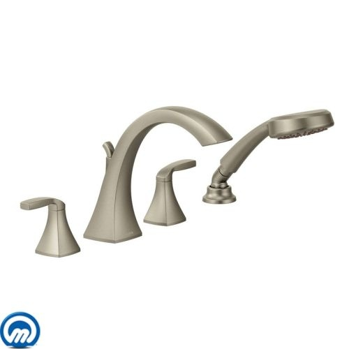 Moen T694 Deck Mounted Roman Tub Faucet Trim with Personal Hand Shower and Built-In Diverter from the Voss Collection (Less