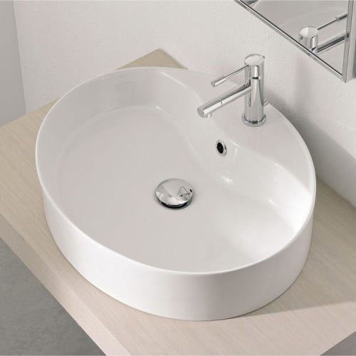 Nameeks 8030/R Scarabeo 21-3/8' Ceramic Vessel Bathroom Sink with 1 Hole Drilled - Includes Overflow