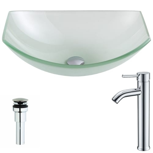 Anzzi LSAZ085-041 Pendant Brass and Glass Deck Mounted or Vessel Bathroom Sink w