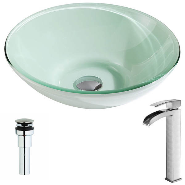 ANZZI Sonata Series Lustrous Light Green Deco-Glass Vessel Sink with Key Brushed Nickel Faucet - Lustrous Light Green Finish