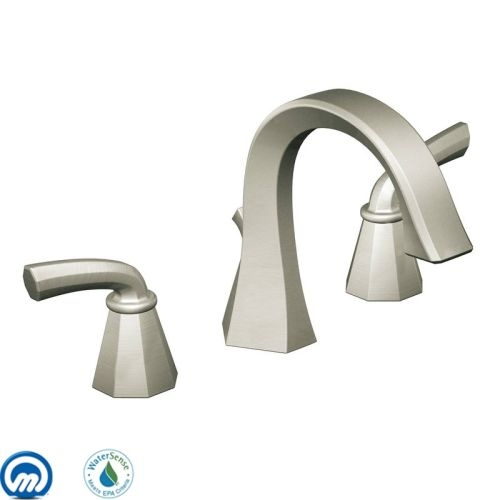 Moen TS448 Double Handle Widespread Bathroom Faucet from the Felicity Collection - Pop-Up Drain Included - Nickel Finish