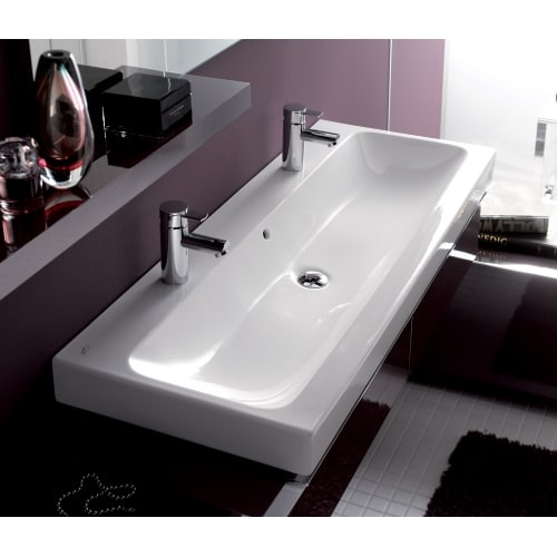Bissonnet 124020 Elements iCon 47-1/4' Wall Mounted Center Drain Bathroom Sink with 2 Holes Drilled and Overflow