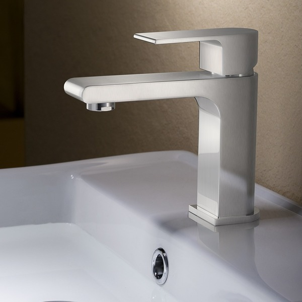 Fresca Allaro Brushed Nickel Single-hole Mount Vanity Faucet - Fresca Allaro Brushed Nickel Faucet