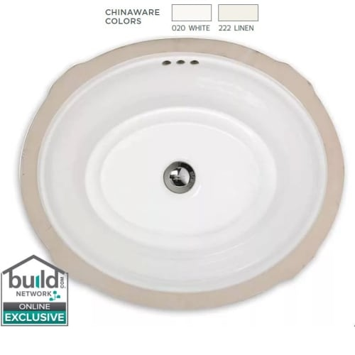 American Standard 484 Estate 19-1/8' Undermount Fireclay Bathroom Sink with Overflow
