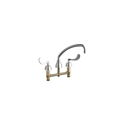 Chicago Faucets 201-AE35-317AB Commercial Grade Low Arch Kitchen Faucet with Wrist Blade Handles - 8' Faucet Centers