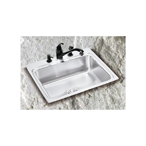 Elkay LR1716 Gourmet 17' Single Basin 18-Gauge Stainless Steel Kitchen Sink for Drop In Installations with SoundGuard Technology