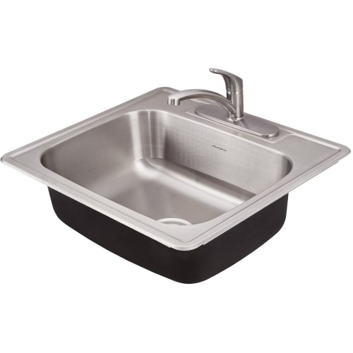 American Standard 20SB.8252283C Colony 25' Single Basin Stainless Steel Kitchen Sink for Drop In Installations with Three Faucet