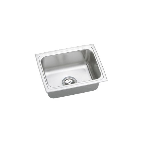 Elkay LFR2519 Gourmet Lustertone Stainless Steel 25' x 19-1/2' Single Basin Top Mount Kitchen Sink