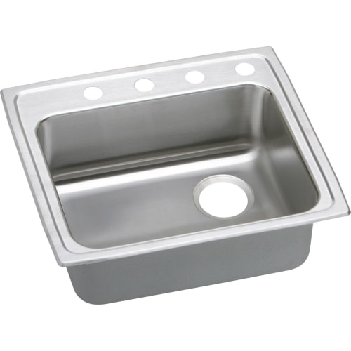 Elkay LRAD221955R Gourmet 22' Single Basin 18-Gauge Stainless Steel Kitchen Sink for Drop In Installations with SoundGuard