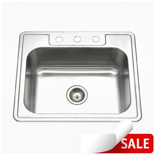 Houzer A2522-65BS Glowtone 25' Single Basin Drop In 18-Gauge Stainless Steel Kitchen Sink with Sound Dampening Technology -