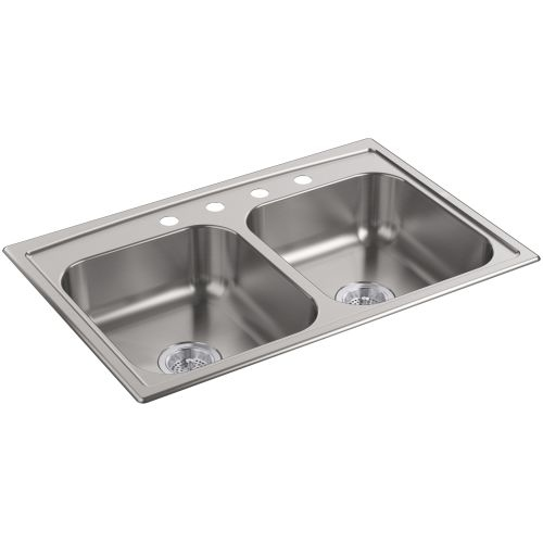 Kohler K-4015-4 Toccata 14' Double Basin Drop-In Stainless Steel Kitchen Sink with SilentShield Technology