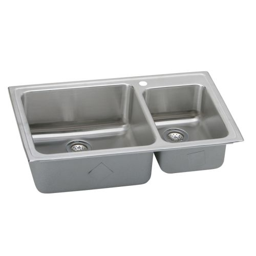 Elkay LFGR3722 Gourmet Lustertone Stainless Steel 37' x 22' Double Basin Top Mount Kitchen Sink with 10' Depth