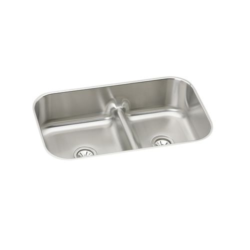 Elkay EAQDUH3421 Gourmet 34-3/5' Double Basin 18-Gauge Stainless Steel Kitchen Sink for Undermount Installations with 45/55