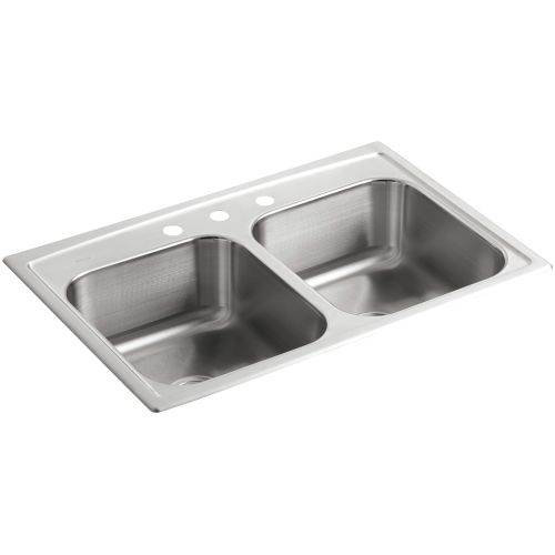 Kohler K-3346-3 Toccata 33' Double Basin Top-Mount 19-Gauge Stainless Steel Kitchen Sink with SilentShield