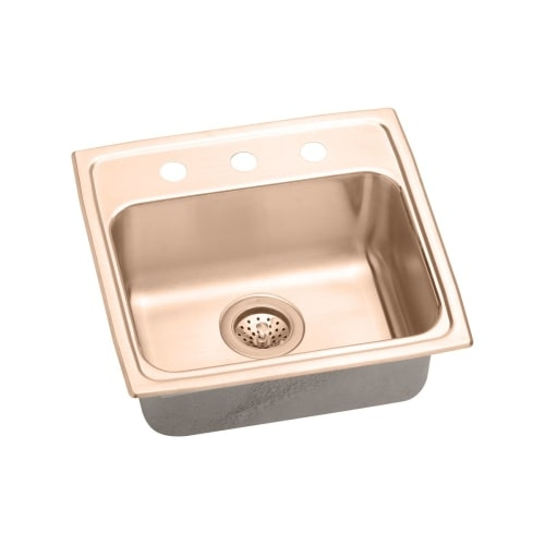 Elkay LRAD191840-CU Lustertone 19' Copper Drop In Lavatory Sink with Customizable Hole Drill and Antimicrobial Protection