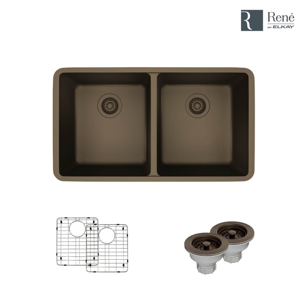René By Elkay R3-1002-CGS Equal Double Bowl Composite Granite Kitchen Sink with Two Grids and Two Matching Colored Strainers