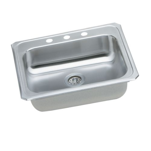 Elkay GECR2521 Gourmet 25' Single Basin 20-Gauge Stainless Steel Kitchen Sink for Drop In Installations with SoundGuard