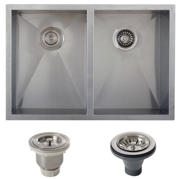 Ticor 29-inch 16-gauge Stainless Steel Double Bowl Zero Radius Undermount Square Kitchen Sink - 16-Gauge