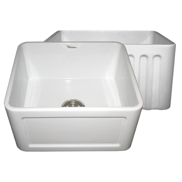 Reversible Series Fireclay Farmhouse Sink with One Concave Front Apron Side and One Fluted Front Apron Side - White