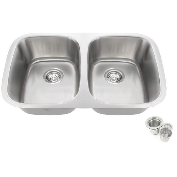 32.25-inch Offset Double 50/50 Bowl Undermount Stainless Steel Kitchen Sink Basket Strainer - 31-1/2' Double 70/30 Undermount Kitchen Sink