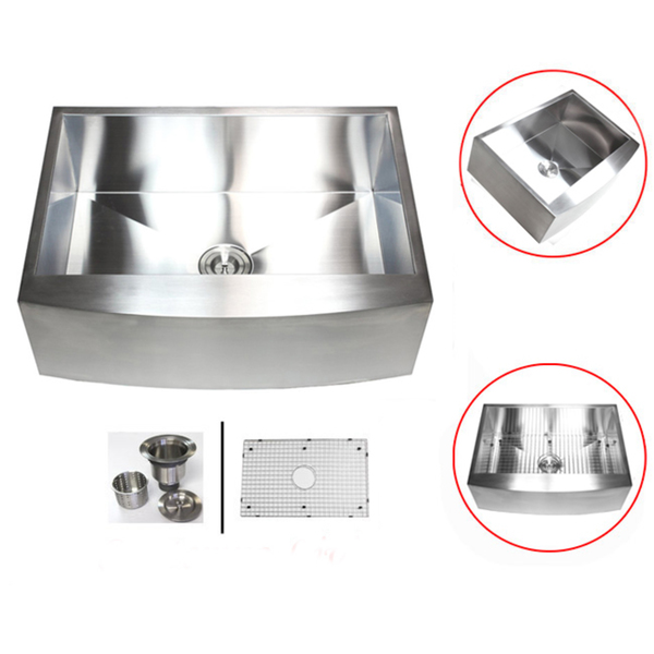 Stainless Steel 33-inch 16-gauge Farmhouse Single Bowl Curve Apron Kitchen Sink - 33 inch Stainless Steel Single Curve Kitchen Sink