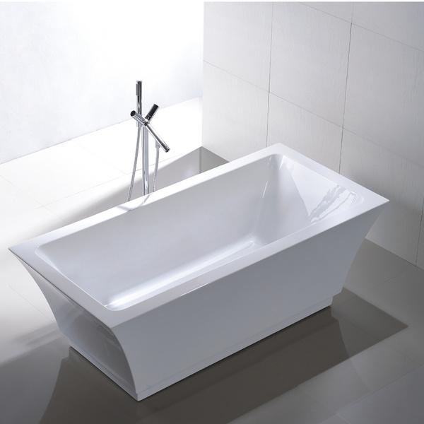 Freestanding 67-inch Rectangular Style White Acrylic Bathtub - Acrylic Tub