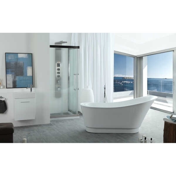 Virtu USA Serenity White Acrylic 67-inch Freestanding Soaking Bathtub