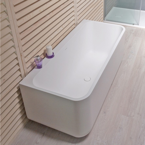 Aquatica Sincera-Wht Back To Wall Solid Surface Bathtub - 63 in. L X 27.95 in. W X 24.41 in. H